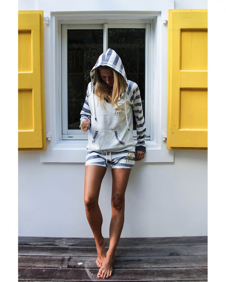 women collection | stripes hoodie ans short | free in st barth