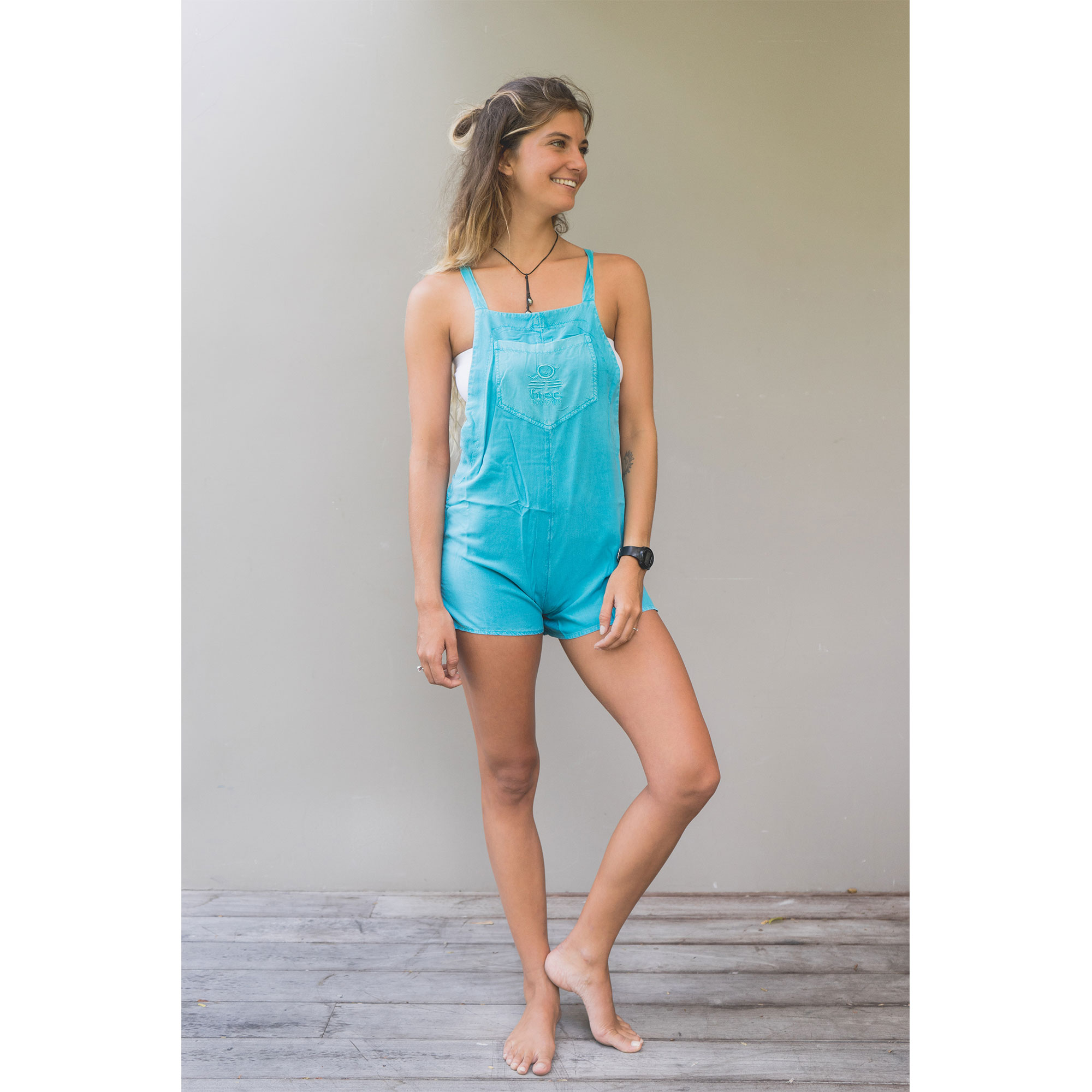 Creative  Malandrino String Back Jumpsuit In Appletini In Green Turquoise