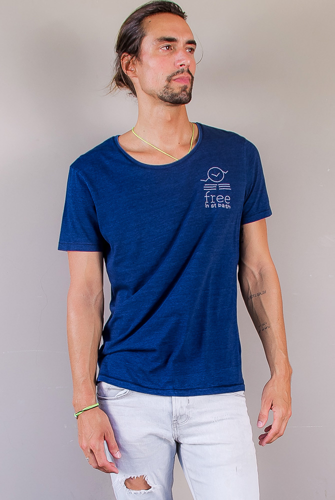 denim tee | crew neck tee | men collection | free in st barth