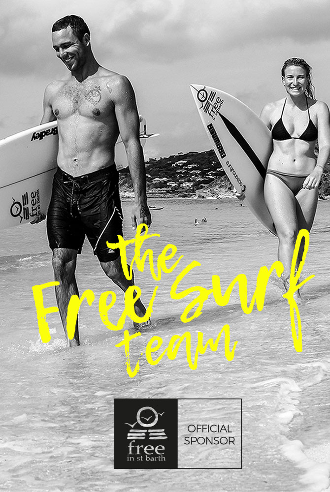 free surf team | dimitri ouvré and tessa thyssen | free in st barth | lorient beach