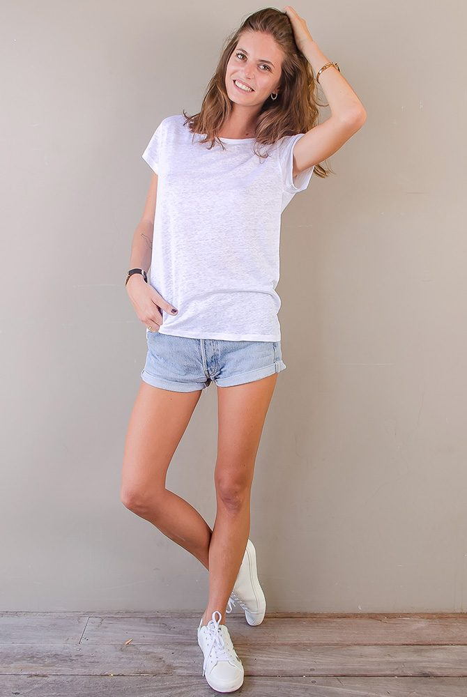 short sleeve tee   linen collection   women collection   free in st barth